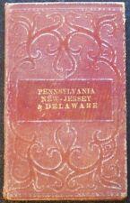 Original 1839 MITCHELL Hand-Colored Folding Pocket Map of Pennsylvania,NJ,Del.