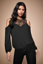 Lipsy Lace Cold Shoulder Blouse Top Size 8 Black