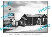 OLD 6 x 4 PHOTO OF HAMILTON SERVICE STATION QLD c1936 PETROL BOWSERS MOBIL etc