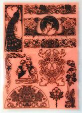 """Clear Stamps Sheet 7""""x10"""" ~ Vintage Art Nouveau Flourishes FLONZ rubber 403-131"""
