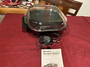 Vintage Rival Electric Skillet Frying Pan Roaster 5102 10x10 W/ Glass Domed Lid