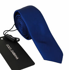 DOLCE & GABBANA Tie Solid Blue 100% Silk Narrow Necktie Men Accessory RRP $200