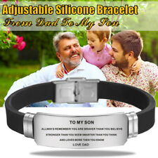 TO MY SON LOVE DAD Stainless Steel Bracelet Silicone Band Unisex Bracelet Mode