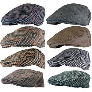 Mens Vintage baker boy Yorkshire Wool Blend Farmer Newsboy Ivy Flat Cap Hat