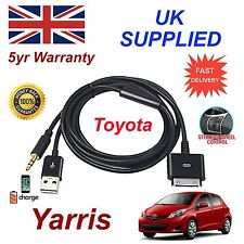 For TOYOTA YARIS iPhone 3gs 4 4s iPod USB & Aux 3.5mm Audio Cable black