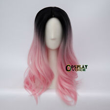 55CM Lolita Black Mixed Pink Ombre Long Wavy Fashion Party Cosplay Hair Wig+Cap