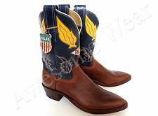 New Ralph Lauren RRL USA Newplain Blue Leather Logo Cowboy Western Boots 10.5 D