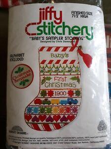 Vtg Sunset Jiffy Stitchery Babys Sampler Stocking Christmas Kit 190 MCM 1978