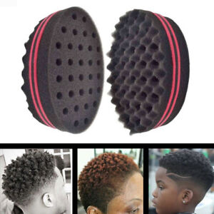 Black Double Sided Barber Hair Sponge Brush Dreads Afro Curl Wave Tool