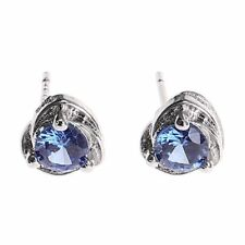 Earrings 9ct White Gold Silver Blue Tanzanite Heart Studs Summer Gift Holiday