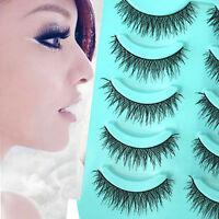 5 Pairs Long Cross Makeup Beauty False Eyelashes Eye Lashes Extension jc