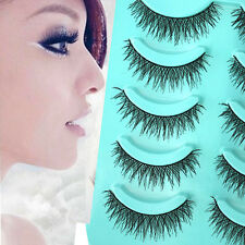 5 Pairs  Long Thick Cross Makeup Handmade Pretty False Eyelashes Eye Lashes top