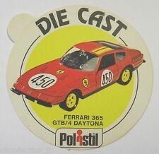 ADESIVO anni '80 / Old Sticker AUTO POLISTIL FERRARI 365 GTB/4 DAYTONA (cm 9)