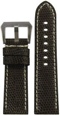 24mm RIOS1931 for Panatime D Brown Lizard Watch Band with White Stitching 24/22
