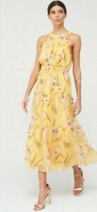 Ted Baker Cabana Printed Tiered Midi Dress - Yellow Size 2 UK 10