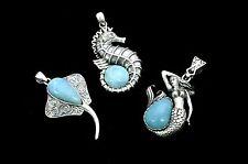 Larimar 3 Pendents Marine Life Premium Jewelry .925 Sterling Silver (Wholesale)