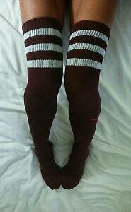 Long Burgundy White Stripe Over The Knee Sock OTK Thigh Boot Ribbed Maroon Cable