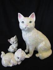 Ceramic Life Size Cat and Kitten Figurines - Pearlized Irridescent White Glaze
