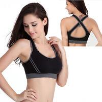 Padded Bra Racerback Top Athletic Vest Gym Fitness Sports Yoga Stretch M Black