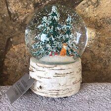 More details for christmas musical snow globe fox & trees bnwt