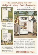 1948 Vintage GE 2 Door Refrigerator Ad 40s She Shed, Man Cave or Kitchen Decor.