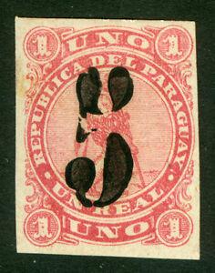 PARAGUAY 1878 LION - BLACK SURCHARGE handstamp  5c /1r rose Scott # 4 mint MH