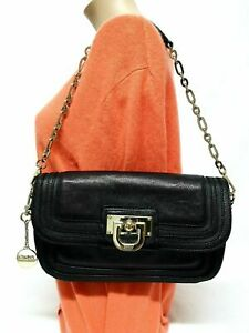 DKNY BLACK LEATHER PURSE SHOULDER HANDBAG