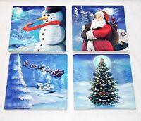 NEW CERAMIC 4pc HOLIDAY CHRISTMAS TREE SNOWMAN SANTA CLAUS 4 DESIGNS COASTER SET