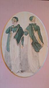 1808 ANTIQUE ENGRAVING REGENCY GEORGIAN FASHION BELLE ASSEMBLEE WALKING FASHIONS