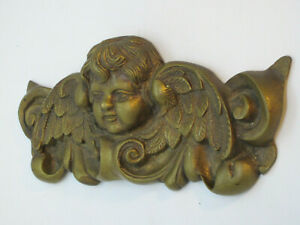Antique Architectural Salvage Italian Putti Cherub Angel Heavy Brass Pediment