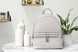 Michael Kors Kenly Medium Studded Pebble Leather Pearl Grey Backpack Bookbag