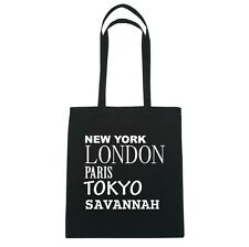 New York, LONDON, PARIS, TOKYO Savannah - Bolsa de yute - Color: Negro
