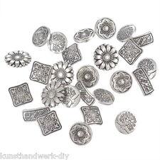 KUS 50 Mix Trachtenknöpfe Buttons Antiksilber Metallknöpfe Nähen Basteln Knopf