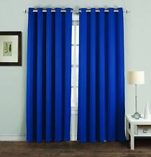 Room Cooling / Warming Thermal Ring Top Blackout Curtains 6 Sizes 9 Colours Royal Blue 66 X 54