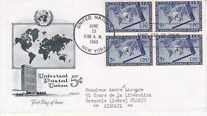 United Nations NY10 - Enveloppe 1er jour 1953 Universal Postal Union Airmail 5c