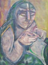 Gouache de Manfredo Borsi sign Portrait Cubiste Futuriste Vallauris Picasso 1946
