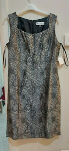 BNWT Womens Kasper Midi Dress In Gunmetal Grey Size UK 10