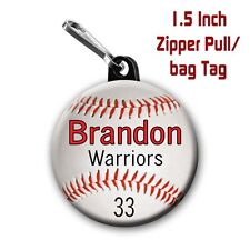 Baseball Zipper Pull/Bag Tags Two Personalized with Name, Number, Team 1.5 Inch