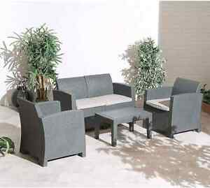 Florence Outdoor Garden Patio Sofa set , Poly-wood Table inc. Seat Cushions