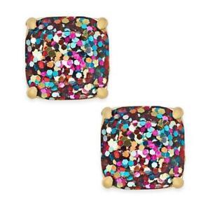 NWT Kate Spade Glitter Square Stud Earrings $38 Multi Color