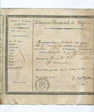 Passaporto Permesso di Soggiorno Governante Elisa Bonaparte Baciocchi 1822