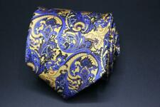 STEFANO RICCI LUXURY COLLECTION Silk Tie. Executive Blue w Yellow Floral.