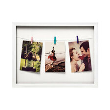 Washing Line Photo Picture Frame 3 Peg White Plastic Family Collage Image Poster