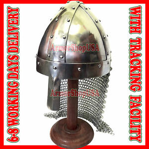 Medieval Norman Crusader Knight Helmet w/ Fitted Chain Mail Aventail Larp Sca