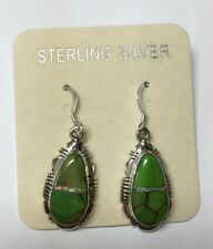 Green Turquoise & Fire Opal Inlay 925 Sterling Silver Earrings