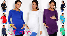 Womens Trendy  Maternity Tunic Long Sleeve Asymmetric Neck Top Pregnancy 6053