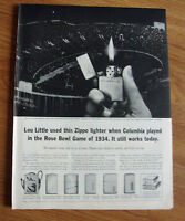 1961 ZIPPO Lighter Ad Lou Little Used this Zippo Rose Bowl Game of 1934