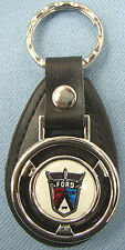 Vintage White Ford 50's Crest Mini Steering Wheel Leather Keyring Key Fob