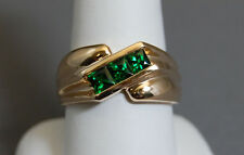 ESTATE CHROME DIOPSIDE 14kt YELLOW GOLD MENS RING