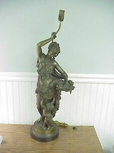Old A Carrier French Cast Bronze Figure Woman with Flower Basket & Child 27""